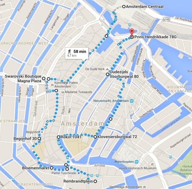 Parcours piéton à Amsterdam