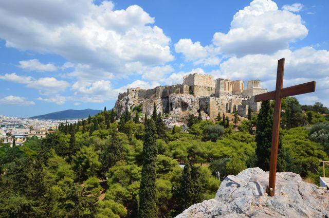 Vue sur l'Acropole depuis la colline d'Arès (Aréopage ) - Athènes