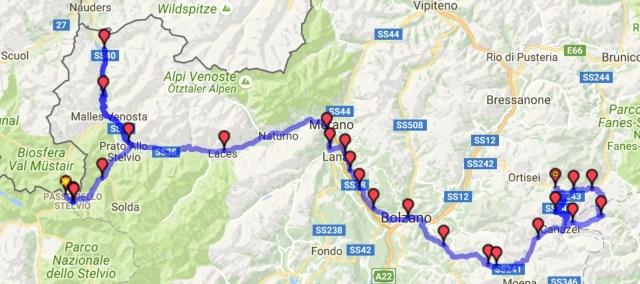 Itinéraire du jour 5 - Col du Stelvio – Col Pordoi