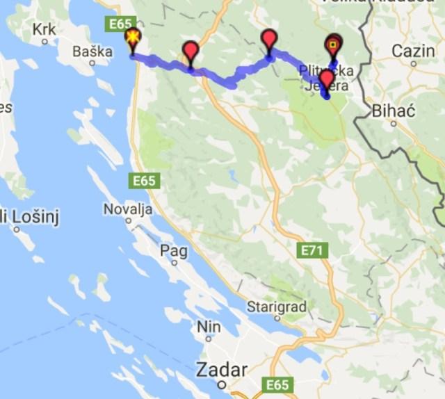 Itinéraire du jour 9 – Senj - Lacs de Plitvice