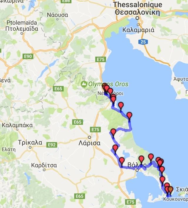 Itinéraire du jour 17 - Platamon - Kastri