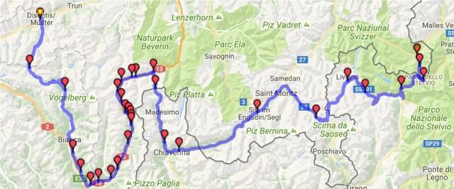 Itinéraire du jour 4 Disentis - Santa-Maria-Val-Mustair