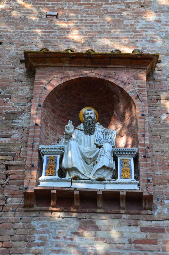 Statue en terre cuite polychrome de saint Benoît - Abbaye Monte Oliveto Maggiore