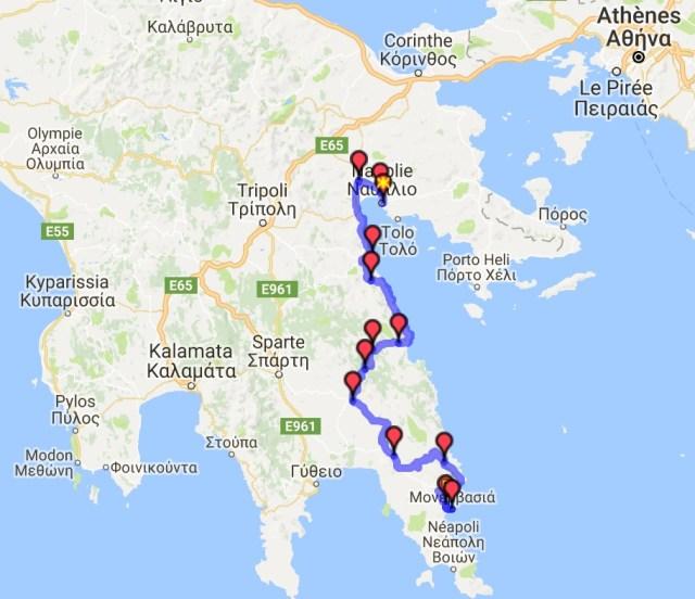 Itinéraire du jour 24 - Nauplie - Monemvasia