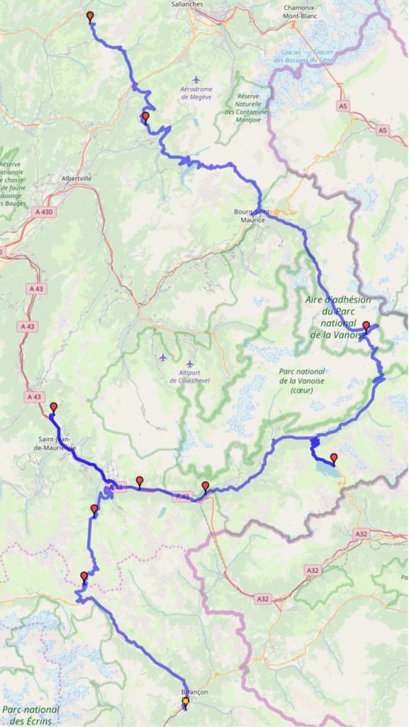 Itinéraire du jour 38 - Briançon - La Clusaz