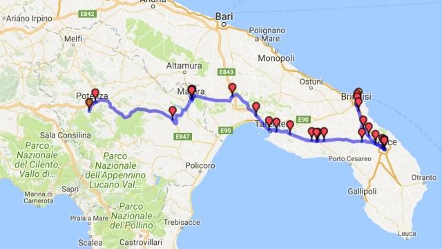 Itinéraire du jour 30 - Brindisi - Potenza