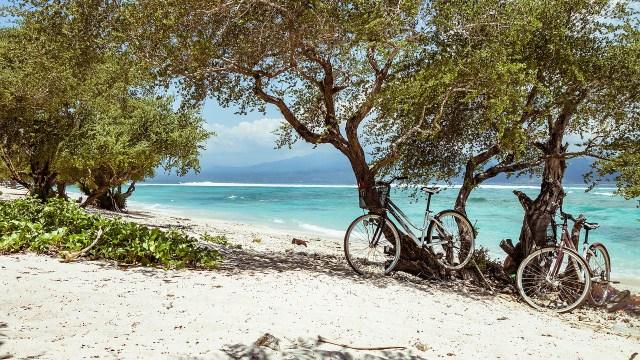 Bikes on a beach in Bali