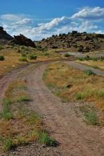 hiking trail leading into rocky mesa
