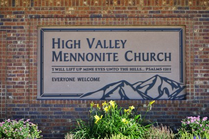 High Valley Mennonite Church Sign on building
