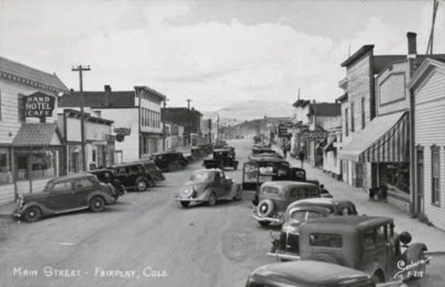 Main street of Fairplay CO Black and White historic photo