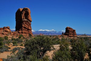 Sandstone pillars with a mountain view