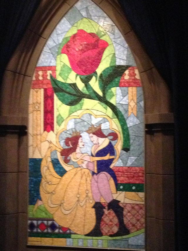 Disney Princess Half Marathon Be Our Guest Restaurant- Stained Glass in Entryway