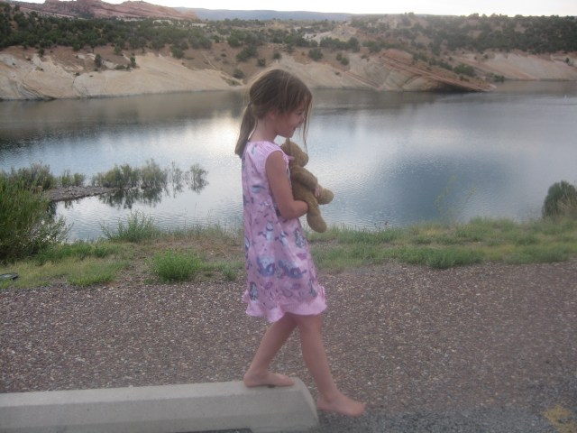 Maya and I On a Morning Walk in Red Fleet State Park in Vernal, Utah