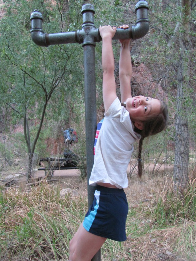 """Grand Canyon Rim to Rim with kids: Ready To Hike!  Maya """"Hanging Out"""" On the Backpack Hanger Before Leaving Phantom Ranch"""