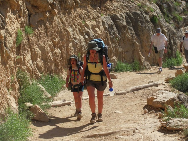 Grand Canyon Rim to Rim with kids: Almost There! Maya and Tricia Hiking Up the Bright Angel Trail