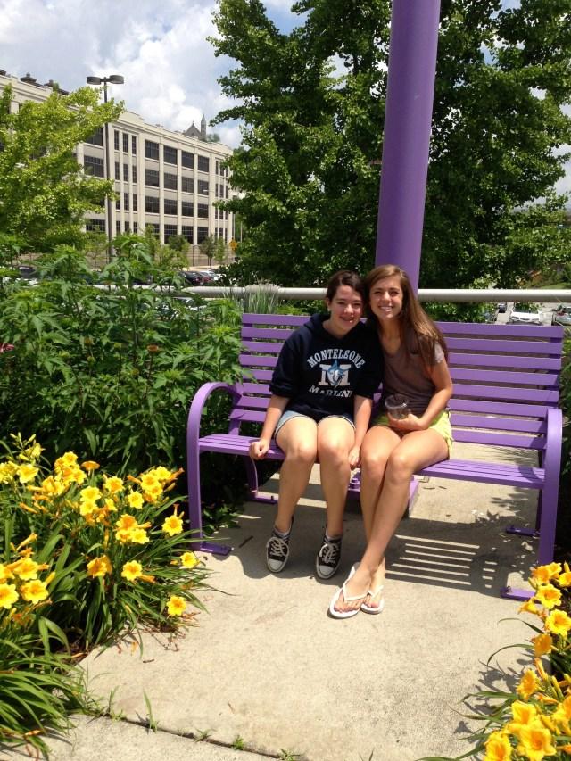 Kathryn and Naomi on the Purple People Bridge