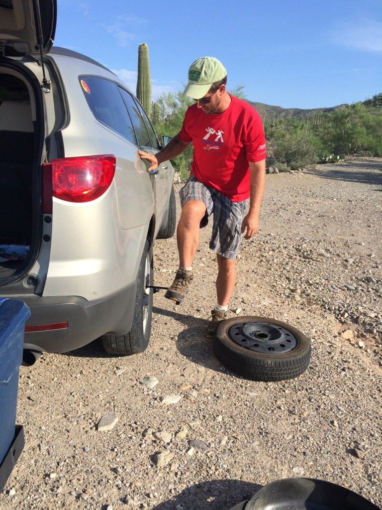 Gifts for Road Trips - Flat Tire in Saguaro National Park