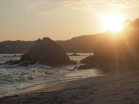 The tide coming in as the sun goes down at the Camino Real Zaashila in Huatulco, Mexico. Credit: Therese Kehler, December 2016