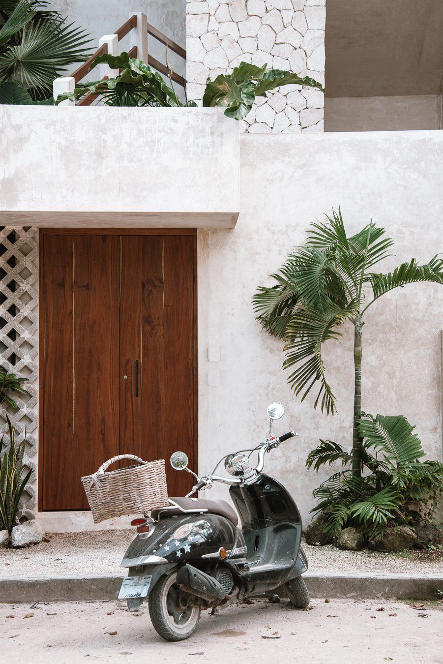 motorbike and doorway in La veleta Tulum