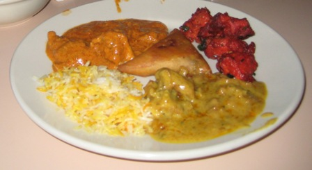 Lahore Grill - Butter Chicken, Basmati Rice, Chicken 65, and Samosas