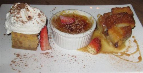 Wisteria Desserts (L to R) Pumpkin Cheesecake, Creme Brulee, Bread Pudding