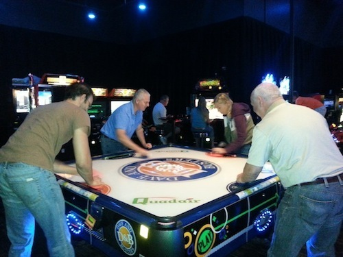 dave and busters air hockey