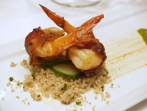 Bacon wrapped shrimp with Tabouleh