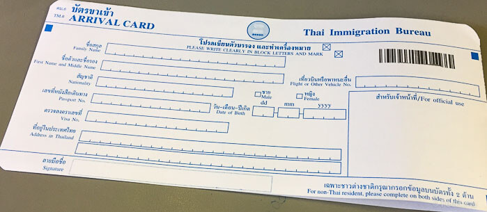 Jetstar 3K 533 Budget Airline Thai Immigration arrival card
