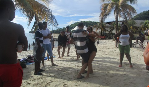 Dancing on the beach at Buccament Bay Resort