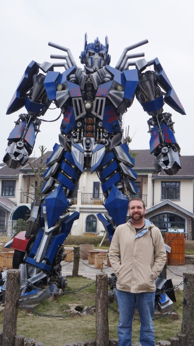 Optimus Prime and I outside our apartment