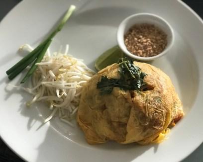 Fresh Pad Thai in an egg blanket