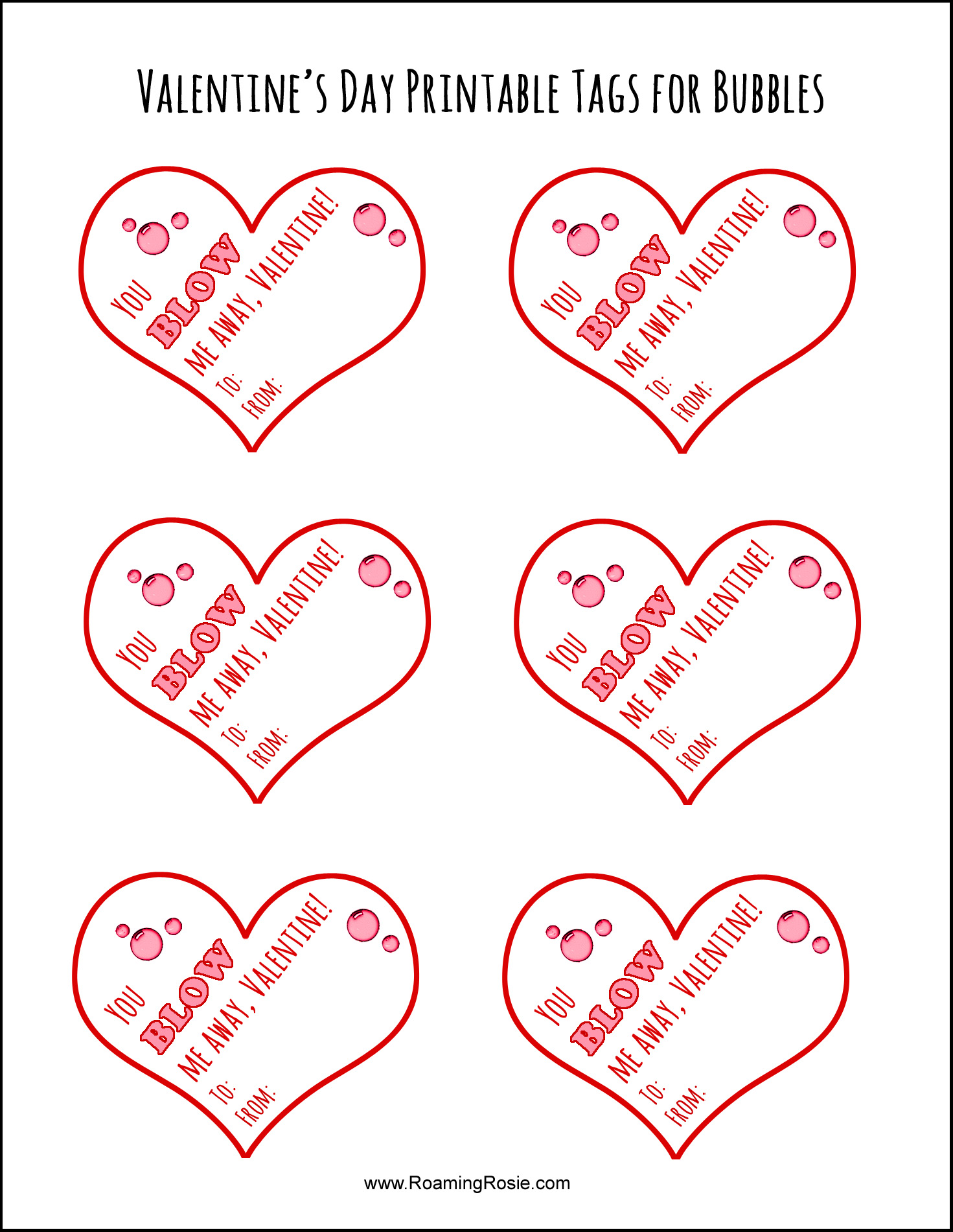 Valentine S Day Printable Tags For Bubbles