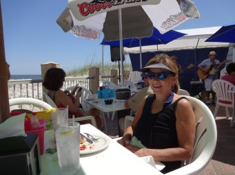 Jan on the beachside patio at Sandy Bottoms.