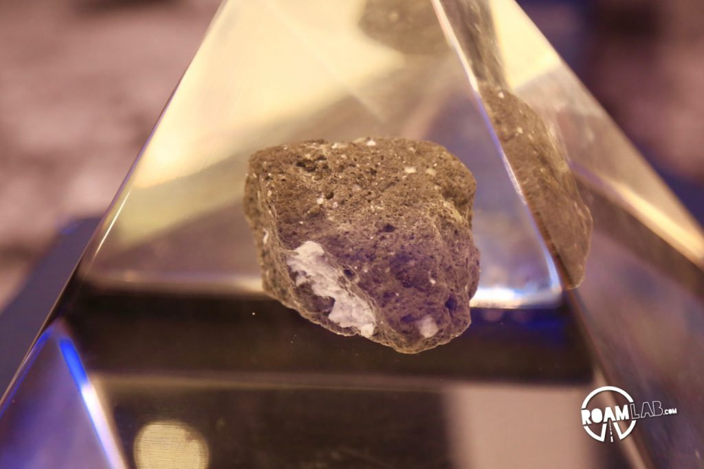 Moon rock on display at the Jet Propulsion Laboratory visitors center.