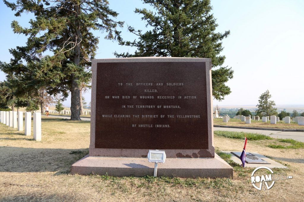 """An old memorial demonstrating the changing views of a fixed event. On the marker: To the officers and soldiers killed, or who died of wounds received in action in the territory of Montana. While clearing the district of the Yellowstone of hostile indians As soon as I saw the text, I had to read the amendment on the small marker in front of the monument: Bearpaw Monument 1881 This monument was originally erected at Ft. Keogh in 1881 to honor U.S Army casualties from the 1877 Nez Perce War. PLEASE NOTE: """"Hostile Indians"""" is in historical context with a term used for Native American enemies of the United States during the 19th century. The historic structure is protexted by the 1966 Historic Preservation Act and cannot be changed to reflect modern social norms."""