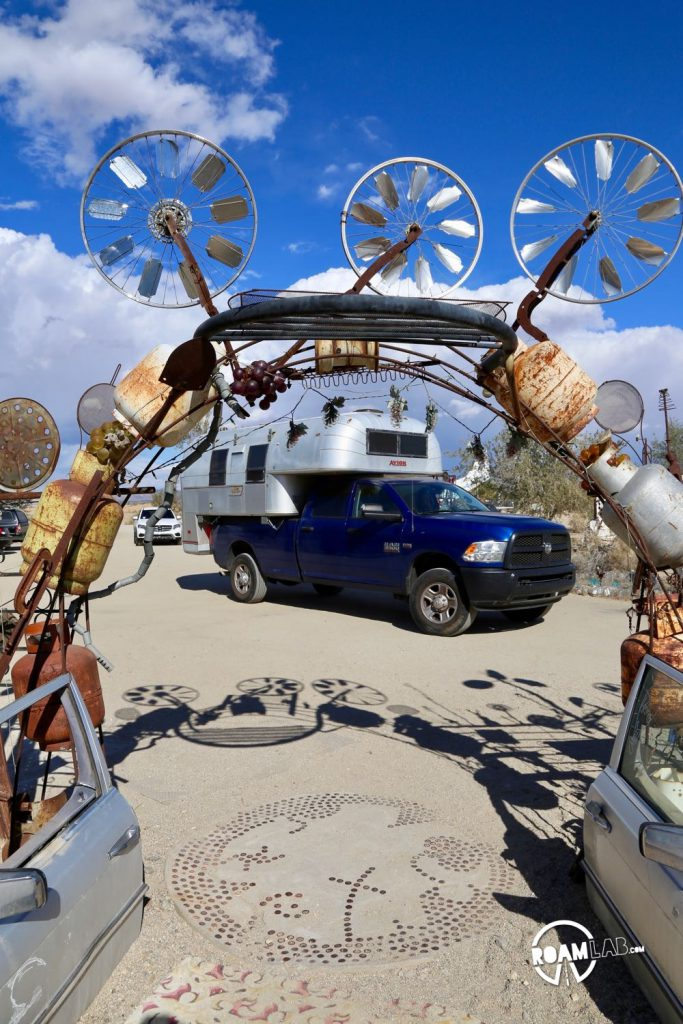Untitled (Entry Archway) by Charlie Russell and Royce Carlson on display in East Jesus, Slab City