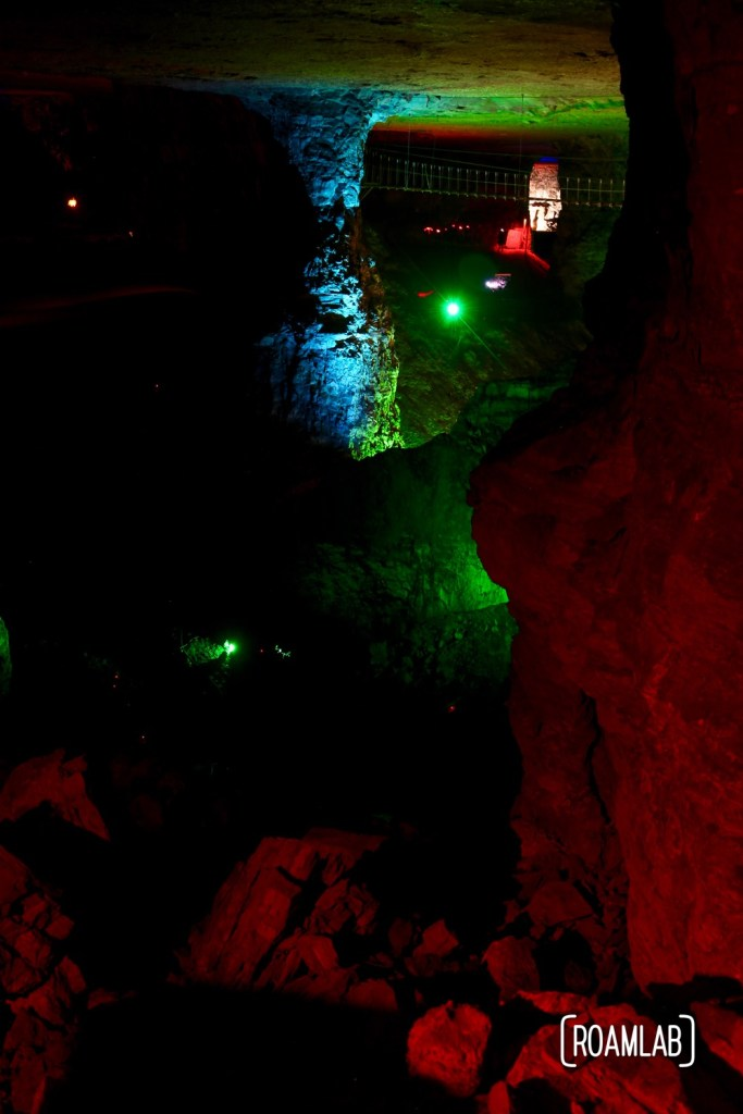 Colorfully lit pillars highlight the scope of the room and pillar mining by Louisville Crushed Stone.
