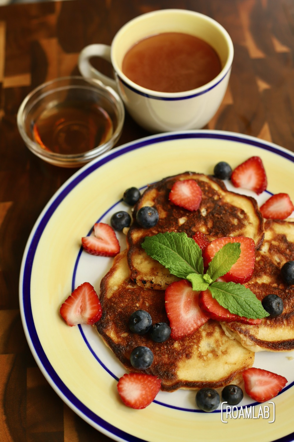 Chop up some strawberries, blueberries, or whatever berries make your mouth water for this Pecan Yogurt Pancakes campfire cooking breakfast recipe.