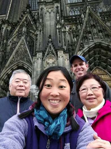 In front of the cathedral!