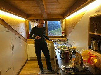Matt cooking dinner with a view.