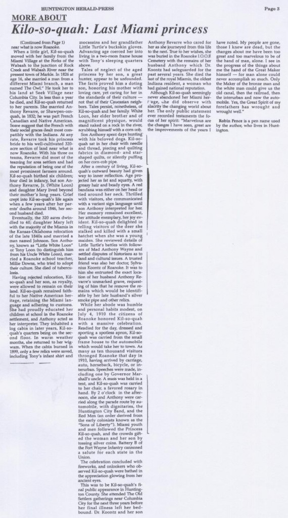 Scanned picture of Kilsoquah article in Huntington Herald Press November 17, 1993 continued