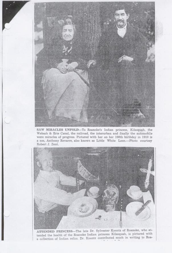 A scanned picture of Kilsoquah article The World was Magic to Miami Princess page 2 featuring photo of Kilsoquah and her son, Tony Loon and a photo of Dr. Koontz.