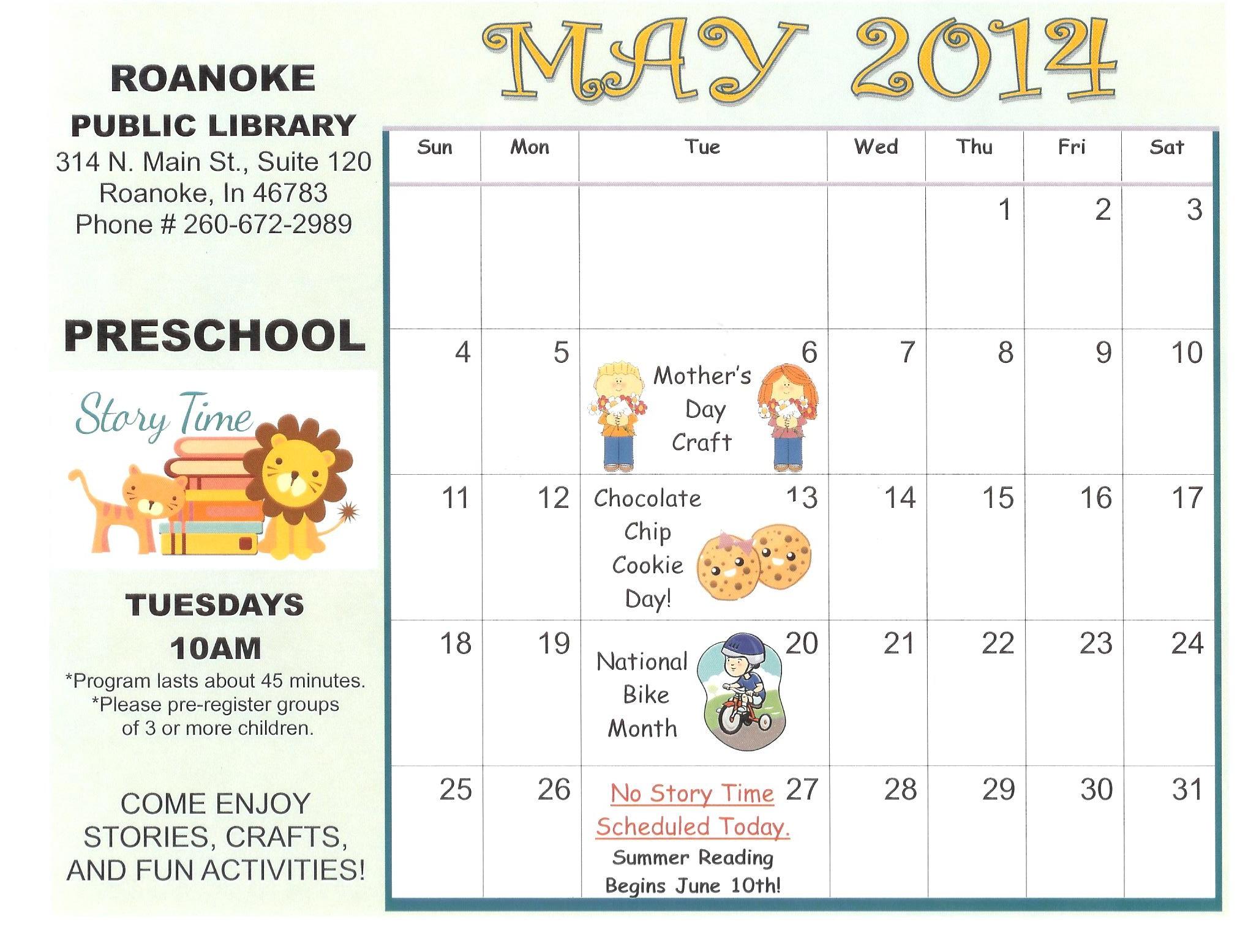Preschool Story Time Calendar