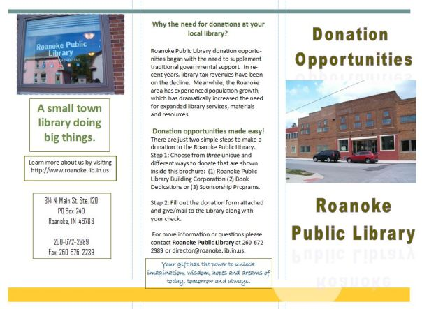 Donation Brochure Page 1