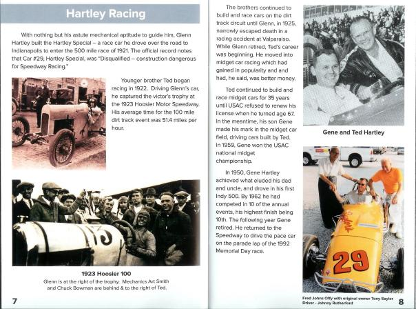 A scanned page for the Rolling into Roanoke brochure featuring Hartley Racing
