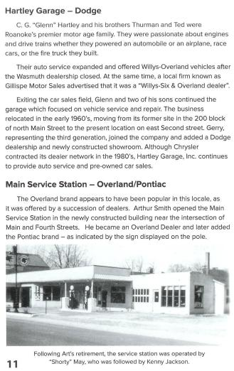 A scanned page for the Rolling into Roanoke brochure featuring Roanoke Auto Dealers Garages
