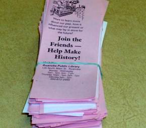A photo of Double-sided bookmarks to promote the Friends of the Roanoke Public Library