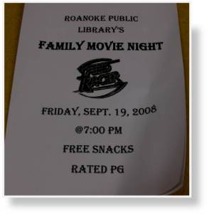 A photo of a sign promoting an upcoming event at the Roanoke Public Library