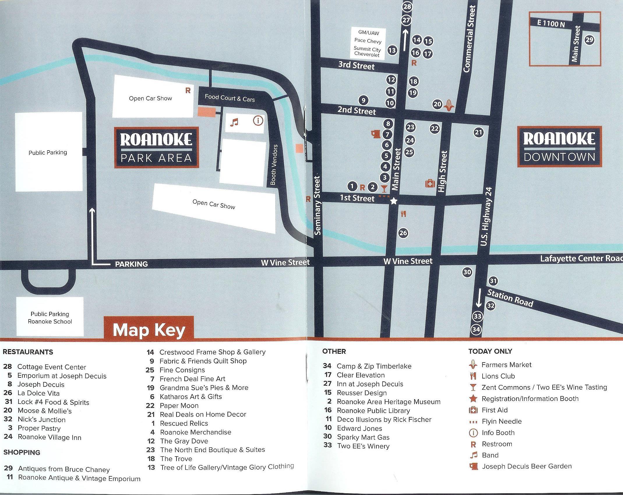 Map to Roanoke IN Roanoke Public Library