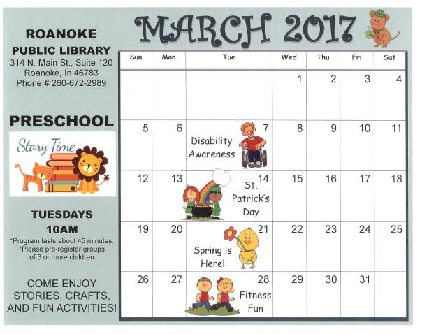 March 2017 Preschool Story Time Calendar